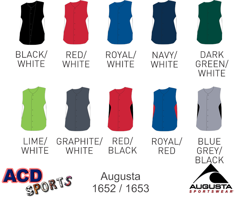Augusta 1652 Sleeveless Full Button Jersey