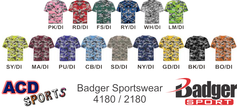 Purple digital camo baseball jerseys badger 4180 digital camo tee