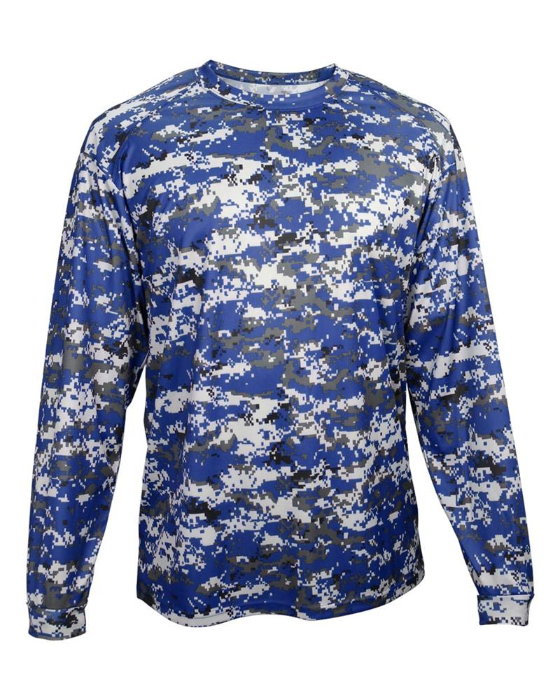 78f126434 Digital Camo Long Sleeve Tee Badger 4184 Royal