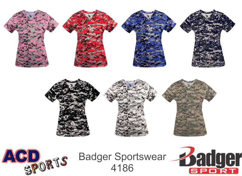 Badger 4186 Digital Ladies V-Neck Tee