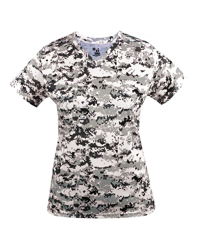 bf5b47c83 Digital Camo Ladies V-Neck Tee Badger 4186 White.