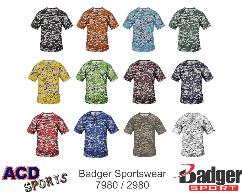 Badger 7980 Digital Camo Two Button Placket
