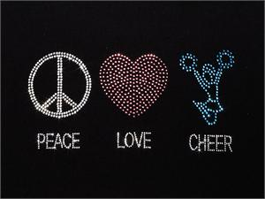 """PEACE LOVE CHEER"" Bling Rhinestone Design by Pizzazz LT180"