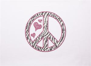 Zebra Peace Sign Bling by Pizzazz LT320