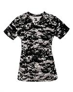 Digital Camo Ladies V-Neck Tee Badger 4186