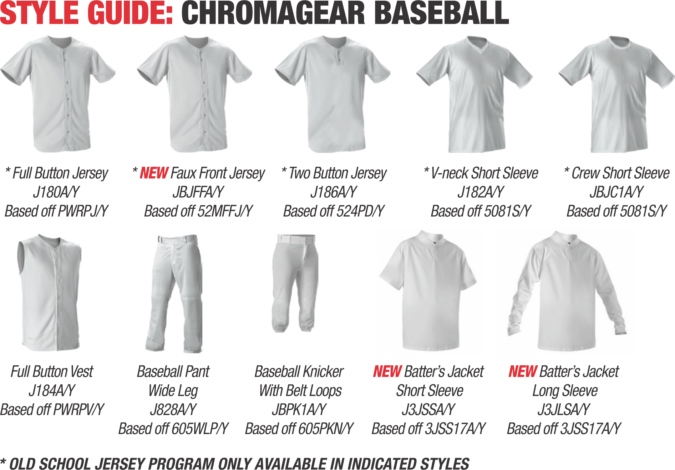 Alleson Baseball Uniform Styles
