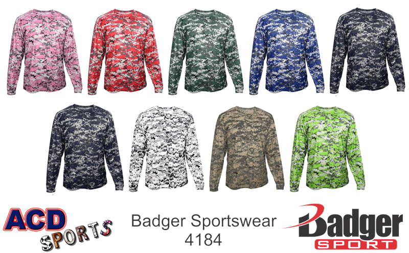Badger 4184 Digital Camo Long Sleeve Tee