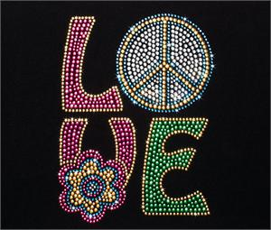 """LOVE"" Bling Rhinestone Design by Pizzazz LT300"