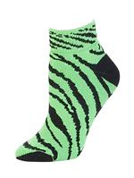 Pizzazz Zebra Stripe Anklet Socks Neon Lime #7090-AP