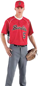 Bandit Inset Two Button Baseball Jersey High 5 12230
